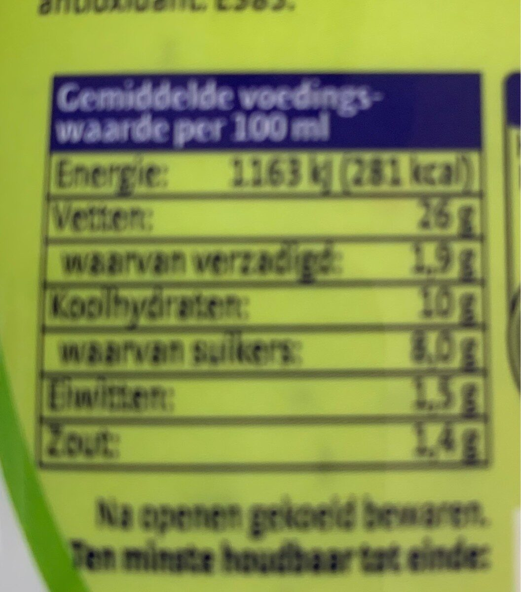 Magere yoghurt dressing - Nutrition facts - nl