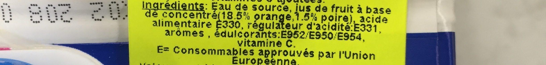 Water & Fruit Sinaasappel- Peer Light - Ingrédients