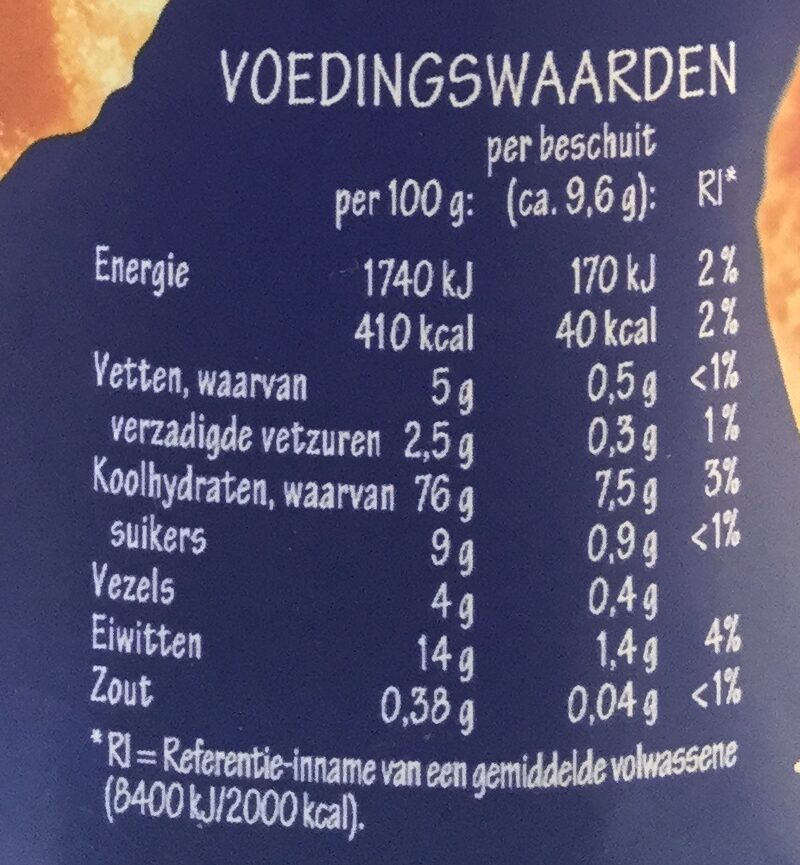 Echte beschuit - Voedingswaarden - nl