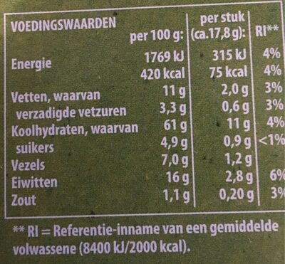 Oerknäck waldkorn - Nutrition facts