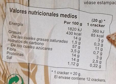 Espelta Crackers - Informació nutricional