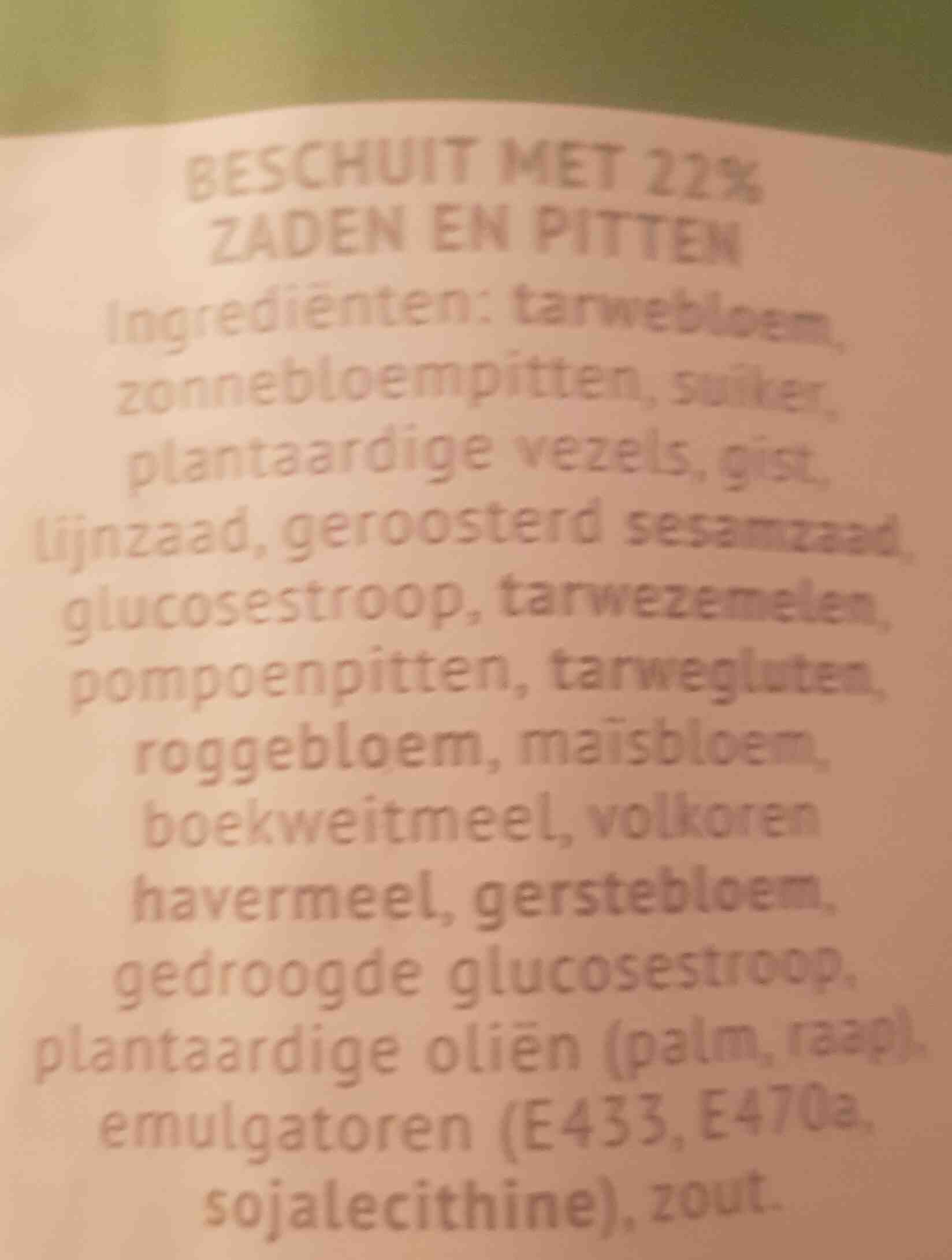 Vezelrijk beschuit - Ingrediënten - nl