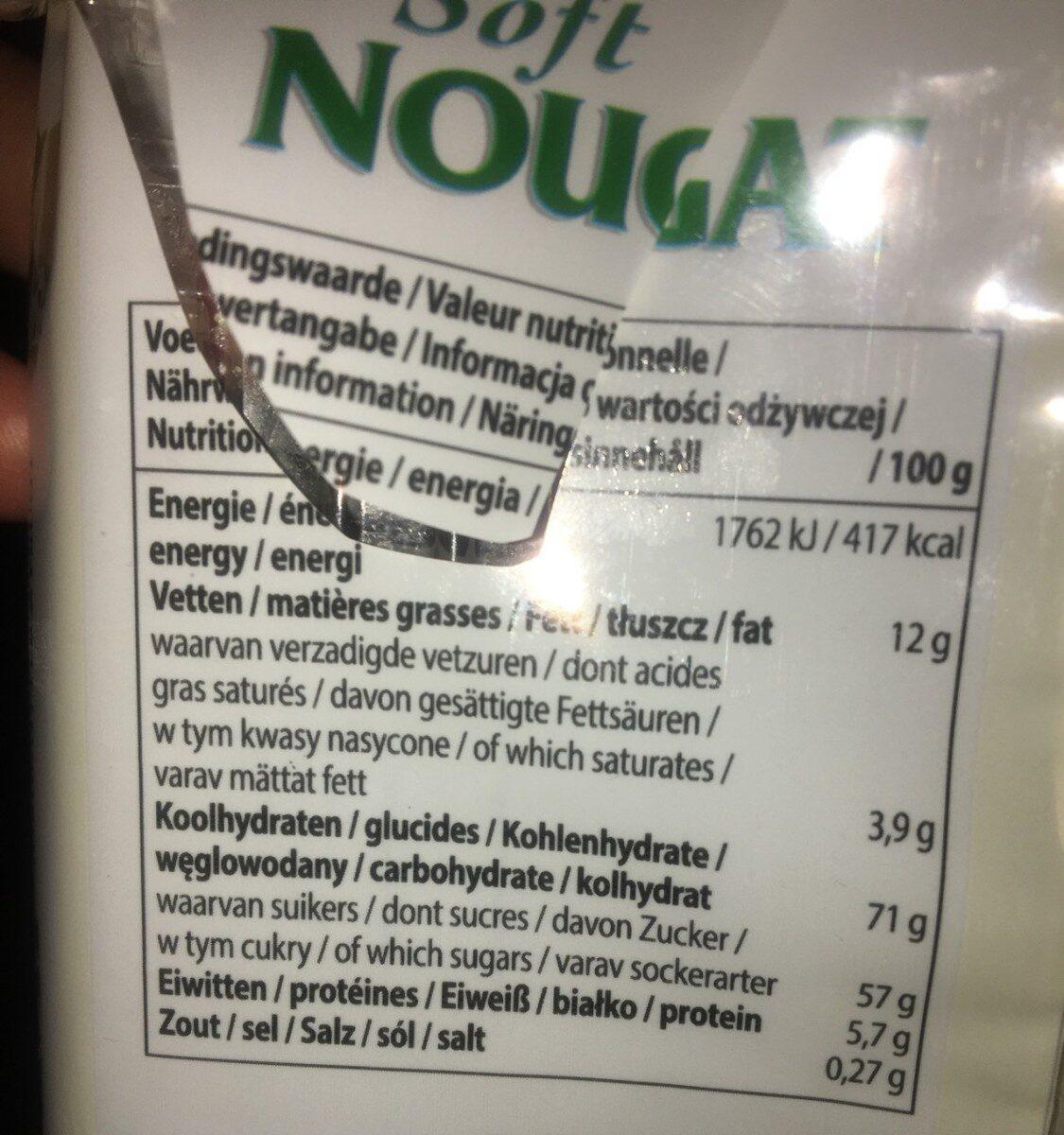 Nougat Soft (Cacahuètes et fruits) - 营养成分 - fr