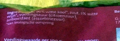 Wijnzuurkool - Ingrediënten - nl