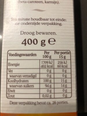 De ruijter, fruit sprinkles - Nutrition facts - en