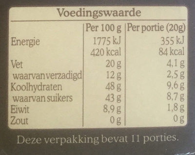 De Ruijter Specials Intens Puur 52% - Nutrition facts