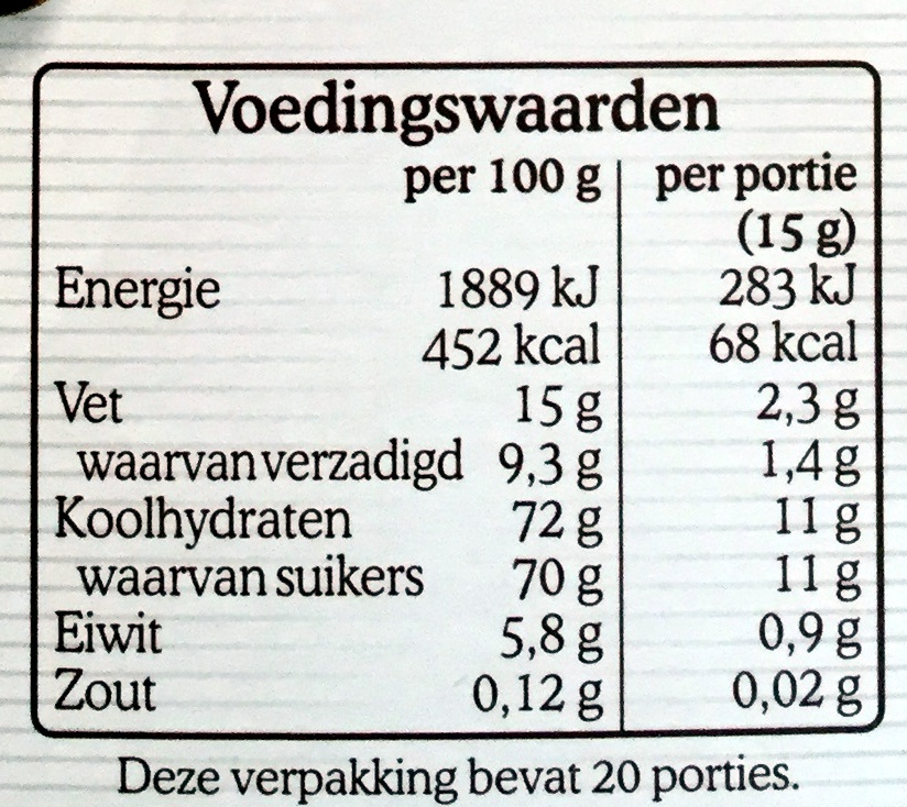 Chocoladevlokken melk - Nutrition facts