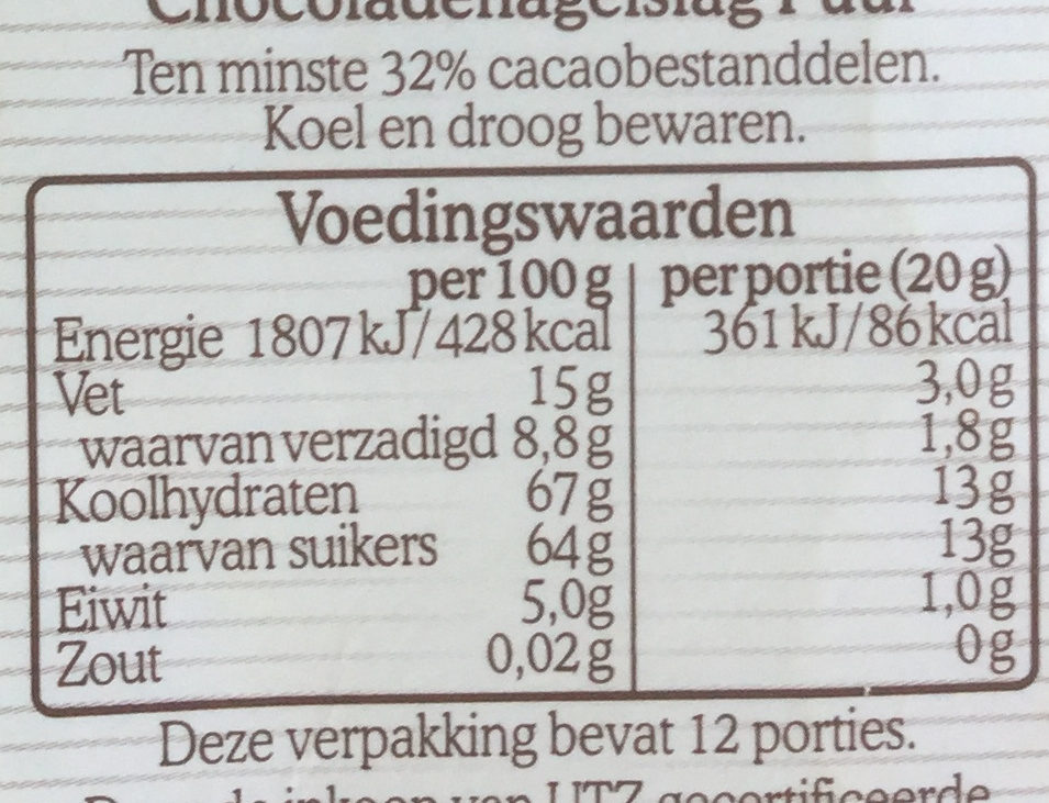 Chocoladehagel puur - Nutrition facts - nl