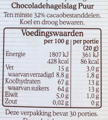 Chocoladehagel puur - Nutrition facts
