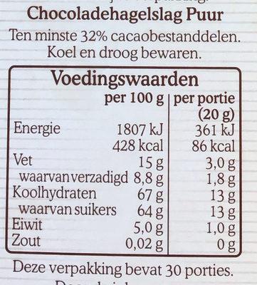 Chocoladehagel puur - Voedingswaarden - nl