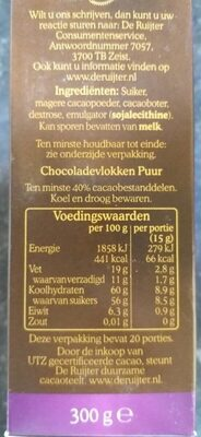 Royaal chocolade vlokken - Voedigswaarden