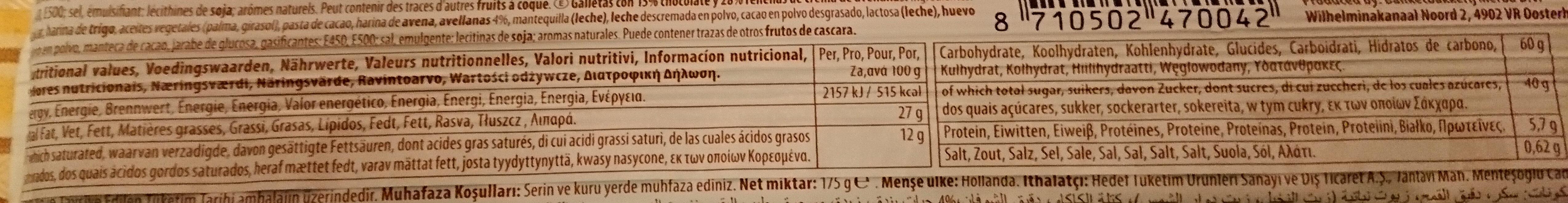 Biscuits Au Chocolat Et à La Pâte De Noisette - Voedingswaarden