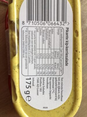 Pikante Kip Kerrie salade - Nutrition facts - nl