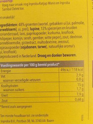 Nasi Goreng - Informations nutritionnelles