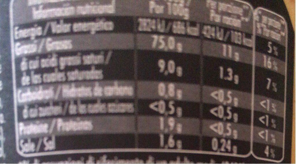 Maille mayonnaise - Informació nutricional - es