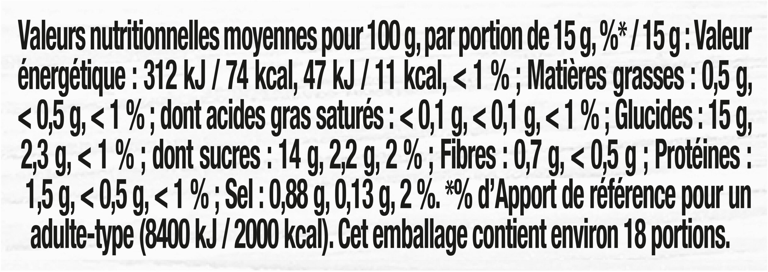 Ketchup - Informations nutritionnelles - fr