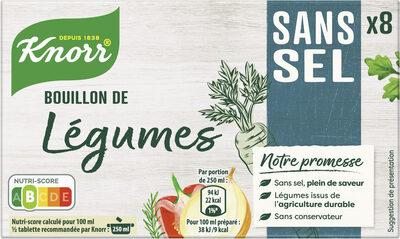Knorr Bouillon de Légumes Sans Sel x8 - Produit