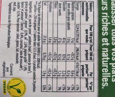 Knorr Bouillon de Légumes Sans Sel x8 - Informations nutritionnelles