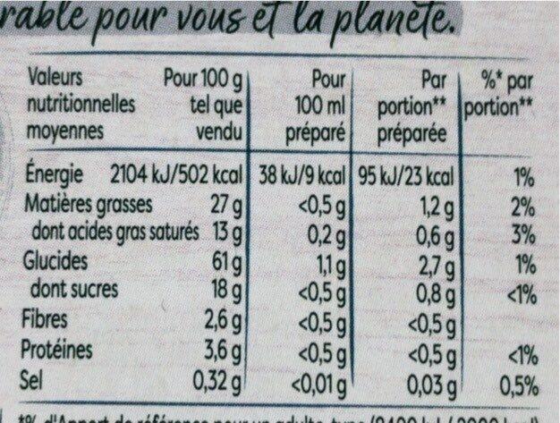 Knorr Bouillon de Volaille Sans Sel x8 - Informations nutritionnelles - fr