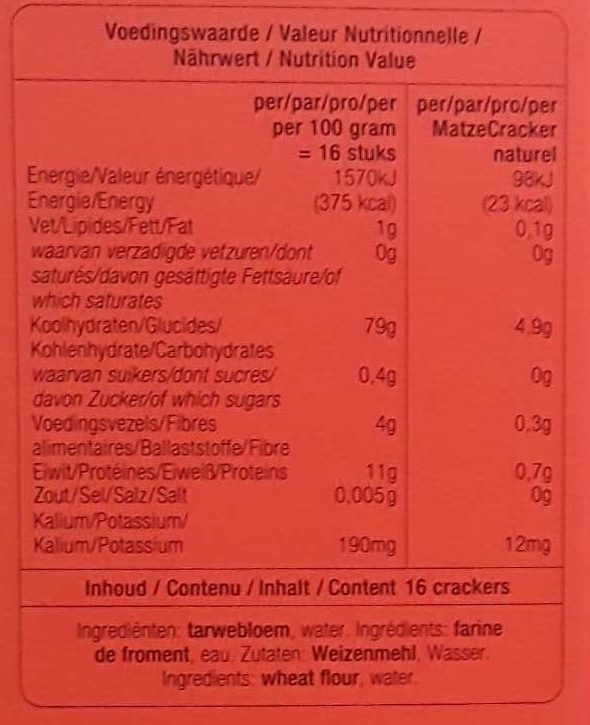 Pain Azyme - Nutrition facts