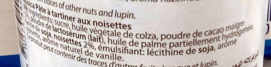 Nusica - Pâte à tartiner aux noisettes chocolate - Ingredienti - fr