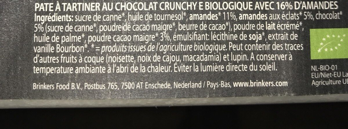 Rhapsody Crunchy Almond - Ingredients - fr