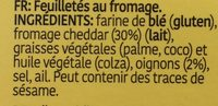 Roka Crispies Cheddar Cheese & Onion - Ingrediënten - fr