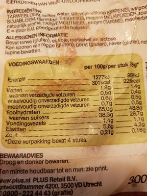 vrije uitloop eierkoeken - Nutrition facts - nl