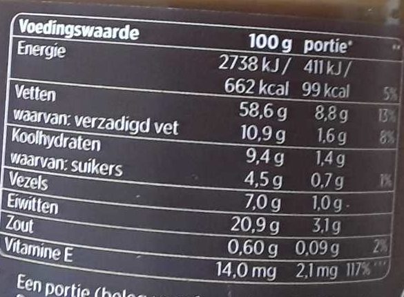 Pindakaas, smeuïg en lekker - Nutrition facts - nl