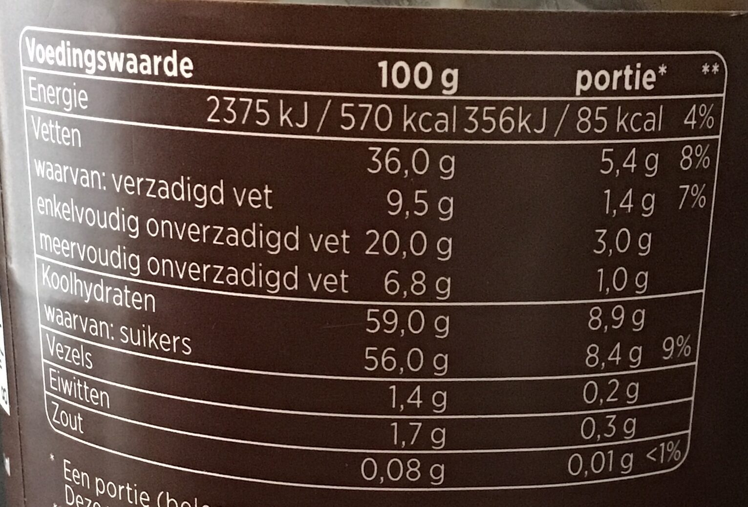 Hazelnoot duopasta - Nutrition facts - nl