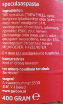 speculaas op brood - Ingrediënten - nl