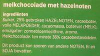 Melk hazelnoot chocolade - Ingrediënten