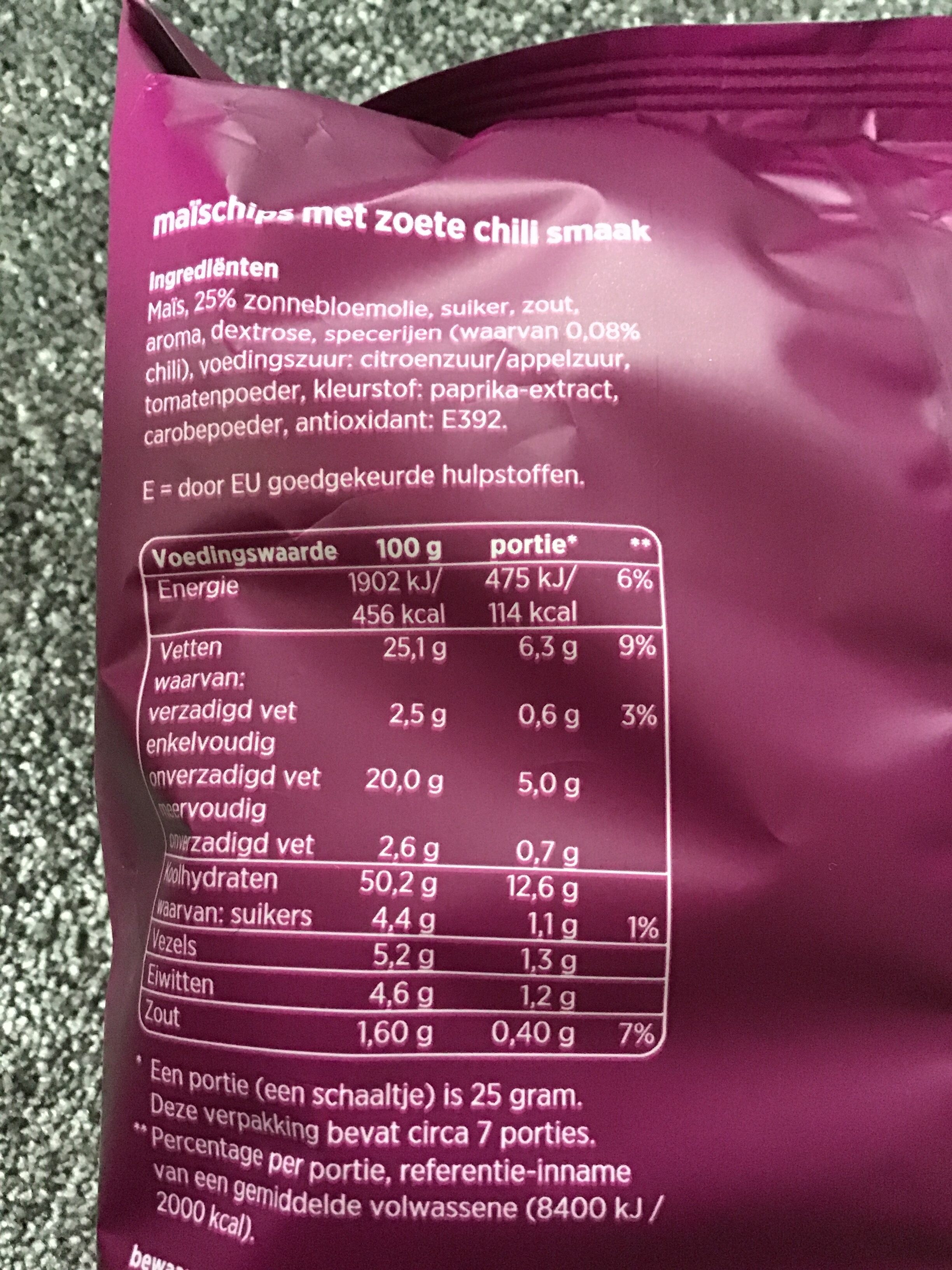 Tortilla chips sweet chili - Voedingswaarden - nl