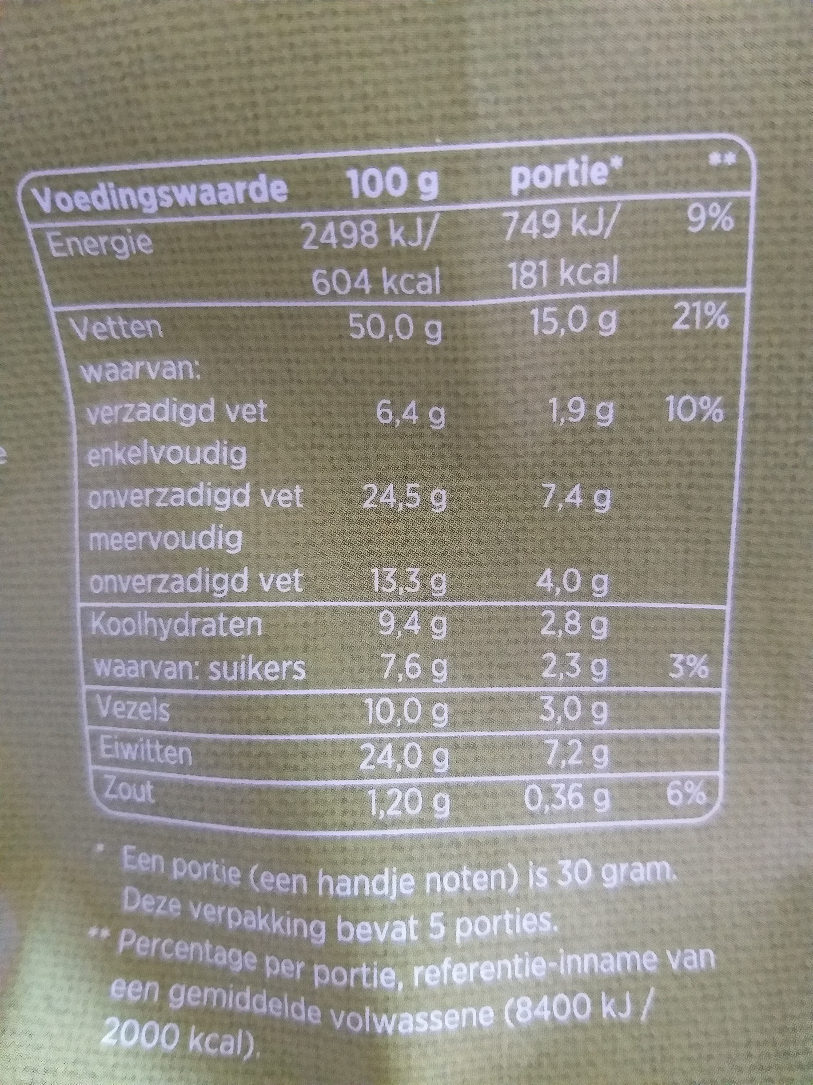 Pistaches - Nutrition facts - nl