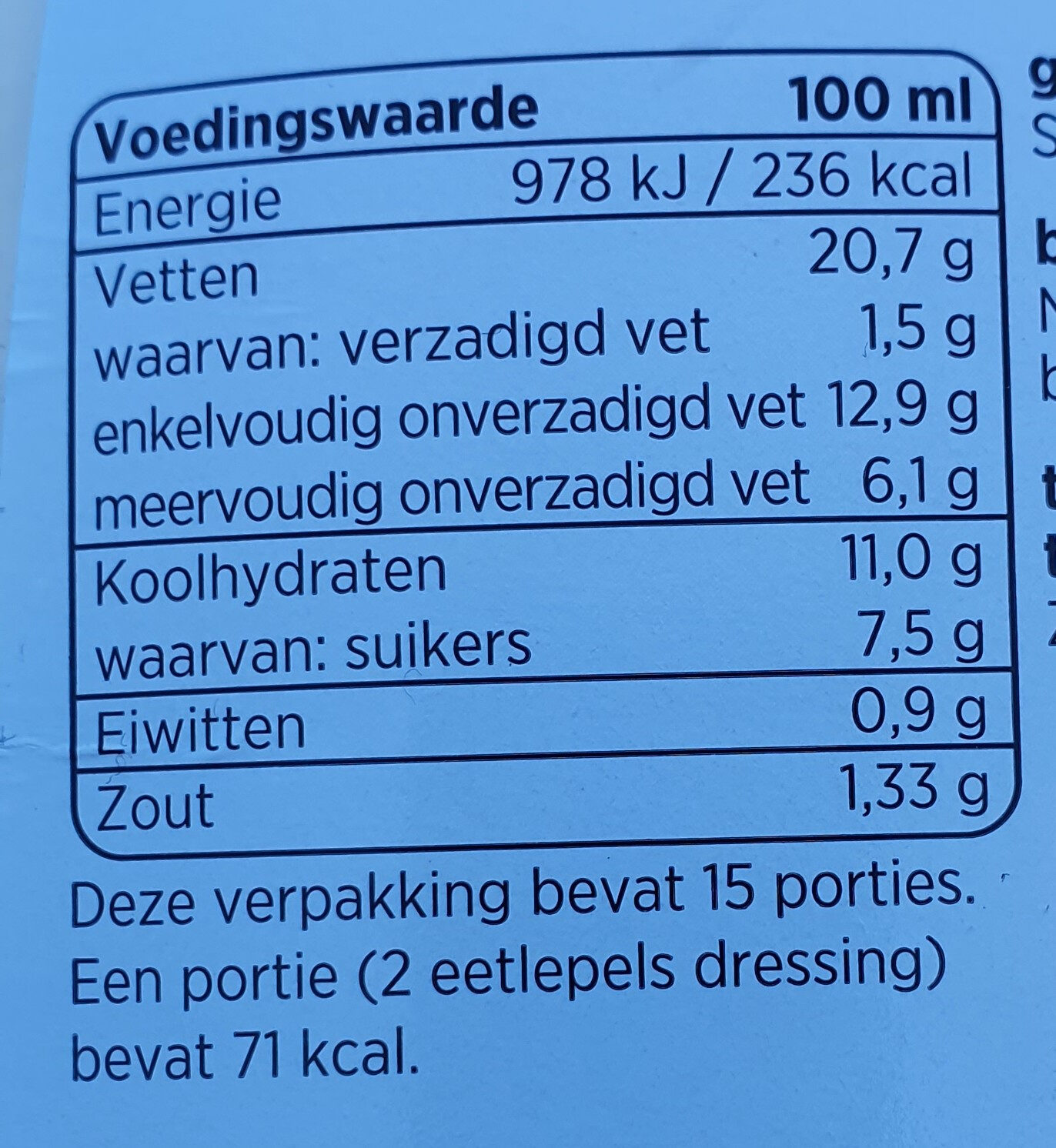 Yoghurt dressing - Voedingswaarden - nl