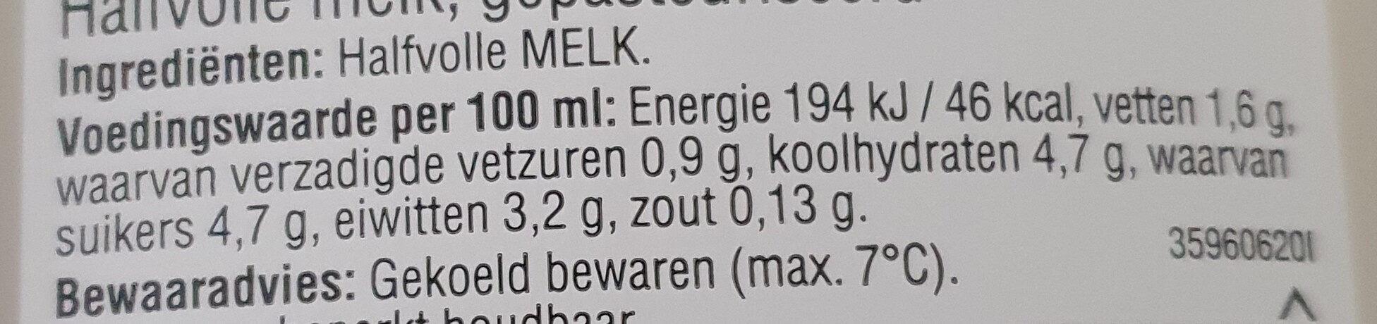 Halfvolle Melk - Nutrition facts - nl