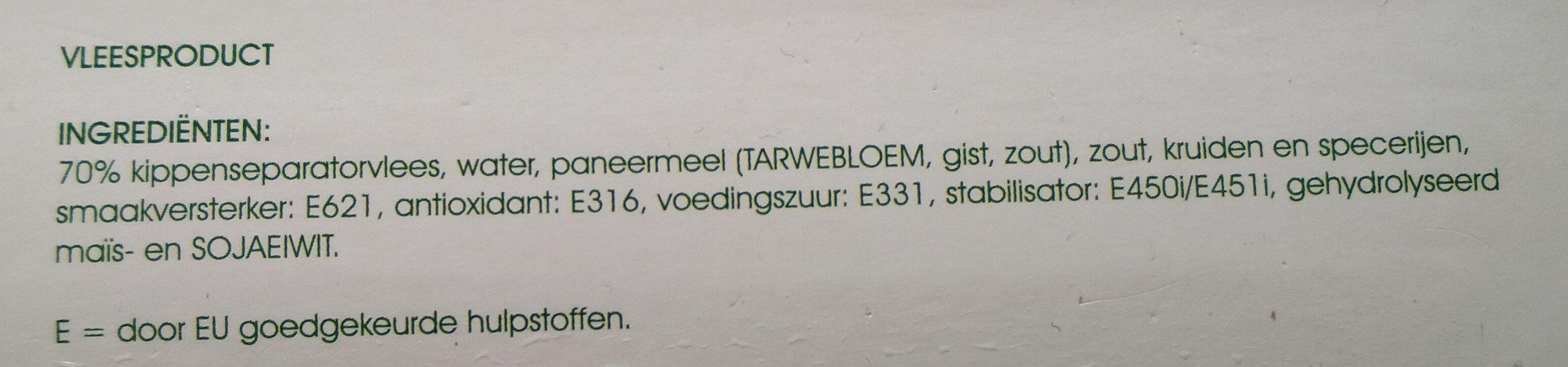 Frikandellen - Ingrediënten - nl