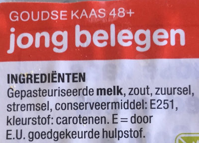 Goudse 48+ kaas jong belegen - Ingredients - nl