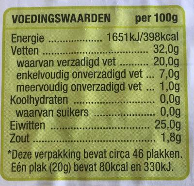 Goudse 48+ kaas jong belegen - Voedingswaarden