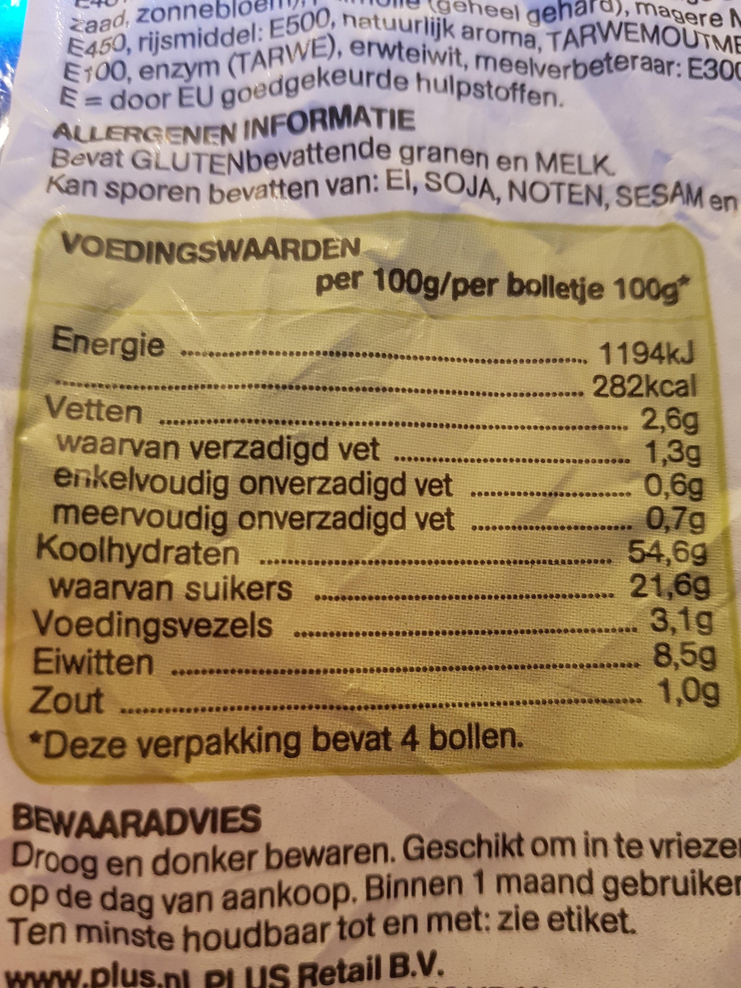 reuze rozijnen krenten bollen - Nutrition facts - nl
