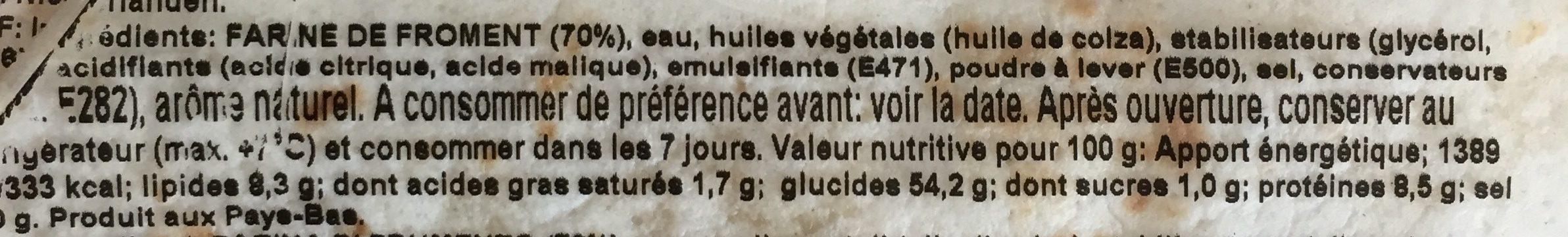 Weizen-tortillas, ø 15CM - Ingrédients - fr
