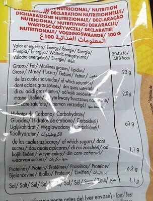 Tortilla chips bio - Wartości odżywcze
