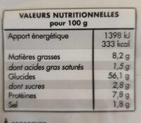 Tortillas blé - Informations nutritionnelles - fr