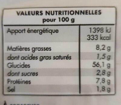 Tortillas blé - Informations nutritionnelles
