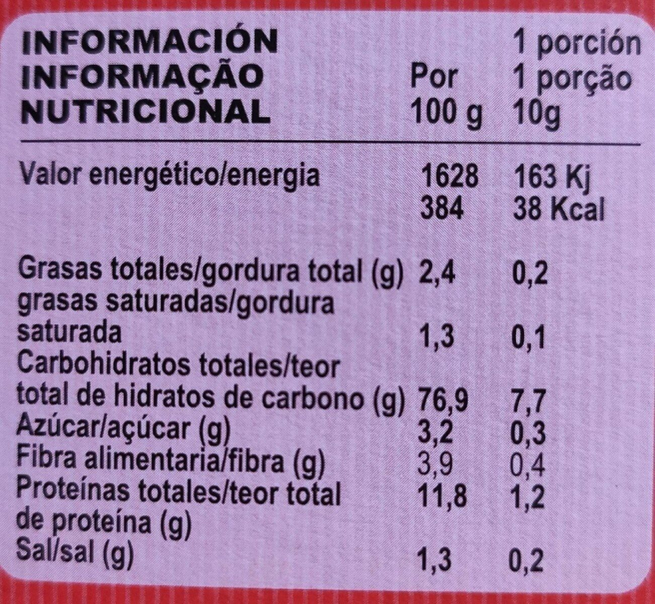 Mini Tostas redondas - Valori nutrizionali - es