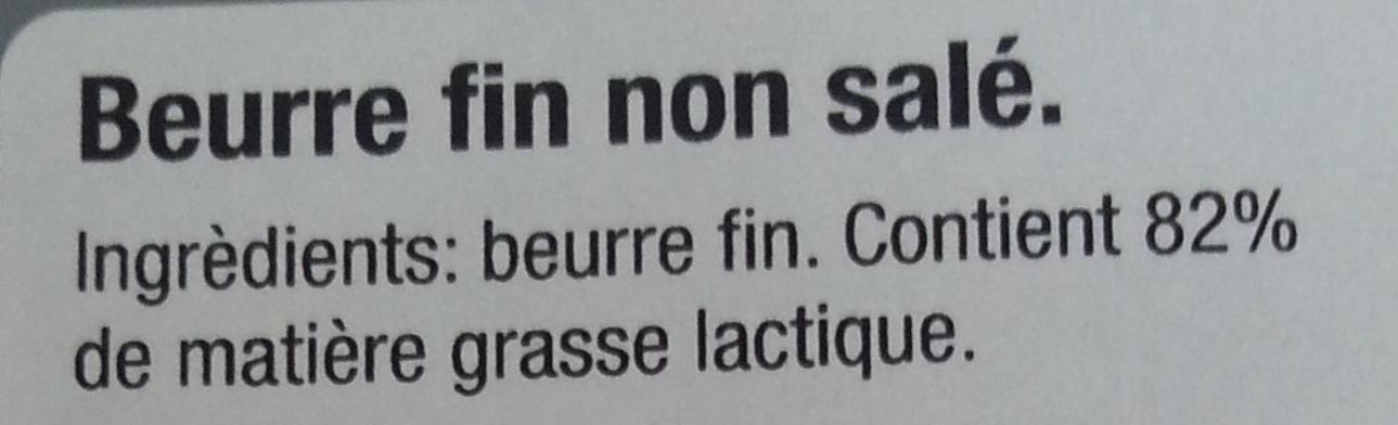 Beurre fin non salé - Père Noël - Ingredients
