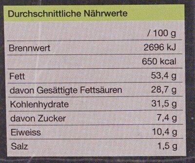 Gefülltes Käsegebäck Käse & Schnittlauch - Nährwertangaben