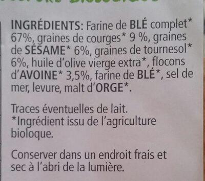 Croustines aux 3 graines bio - Ingredients