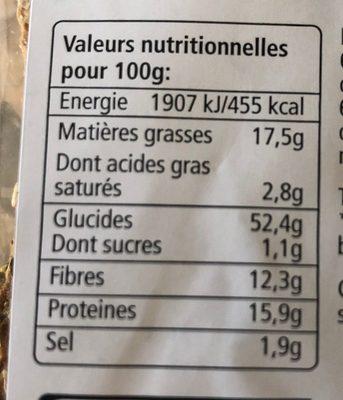 Croustines aux 3 graines bio - Nutrition facts