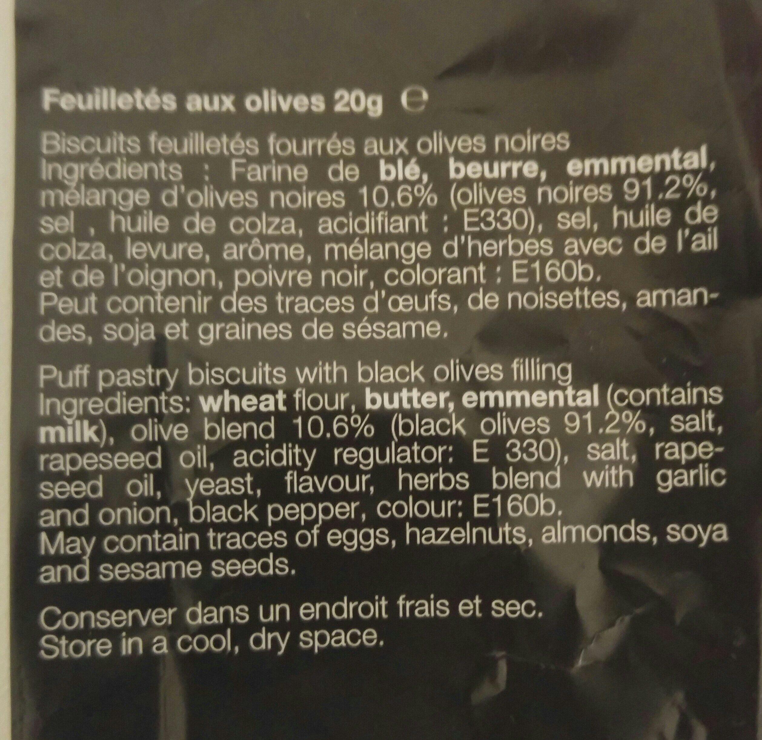 Feuilletés aux olives - Ingredients